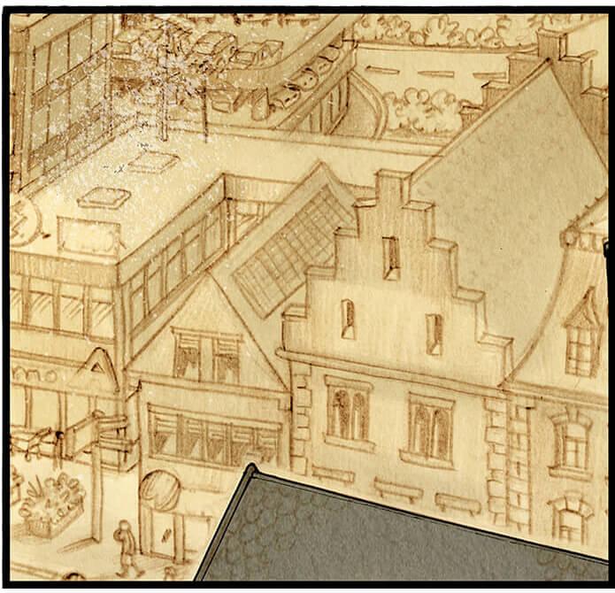 Bildausschnitt von der Kirche der Kleinstadt Grevenacker aus der Vogelperspektive (insgesamt sechsteilig über die gesamte erste Seite). Auf dem Kirchenplatz und um den Brunnen herum herrscht geschäftiges Treiben.