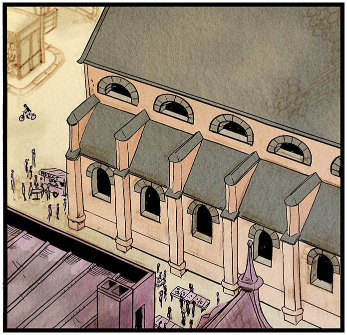 Bildausschnitt von der Kirche der Kleinstadt Grevenacker aus der Vogelperspektive (insgesamt sechsteilig über die gesamte erste Seite). Auf dem Kirchenplatz und um den Brunnen herum herrscht geschäftiges Treiben.  Sprechblase 1: 'Entschuldigung, ich suche die Redaktion vom Grevenacker Echo... ?!'