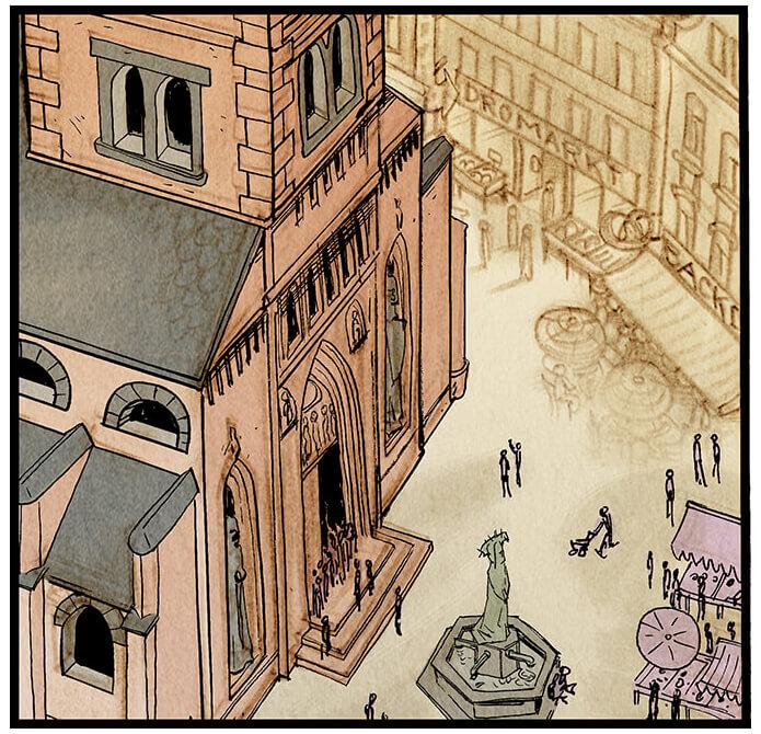 Bildausschnitt von der Kirche der Kleinstadt Grevenacker aus der Vogelperspektive (insgesamt sechsteilig über die gesamte erste Seite). Auf dem Kirchenplatz und um den Brunnen herum herrscht geschäftiges Treiben.  Sprechblase 2: 'Gleich die Hauptstraße runter, auf der linke Seite!'