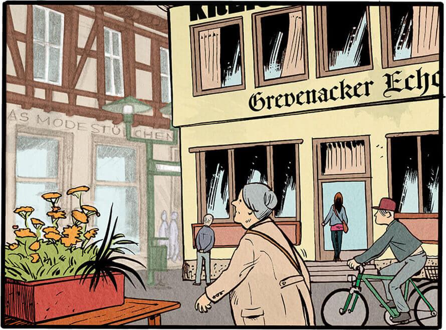 Aufnahme des Redaktionsgebäudes des Grevenacker Echos und einigen vorbeigehenden Passanten. Die junge Anna Wegener erklimmt die Stufen zum Haupteingang.