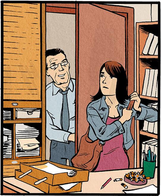 Der Mitarbeiter verlässt den Raum und sagt im Herausgehen zu Anna Wegener.  'Machen sie sich's gemütlich! Putzsachen sind in der Teeküche im Schrank!'
