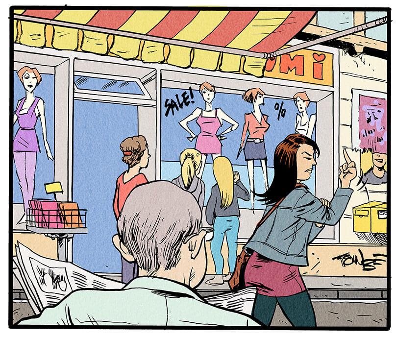Anna Wegener zeigt dem älteren Herren empört den Mittelfinger. Der ältere Herr lacht nur. Im Hintergrund sieht man ein Geschäft für Damenmode.  Älterer Herr: 'Hahaha!'