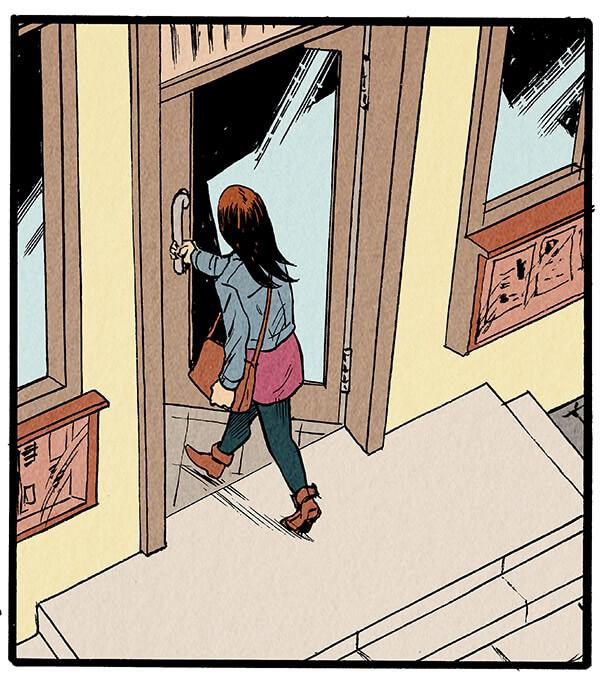 Anna Wegener erreicht die Redaktion des Grevenacker Echos und öffnet die Tür zum Gebäude.