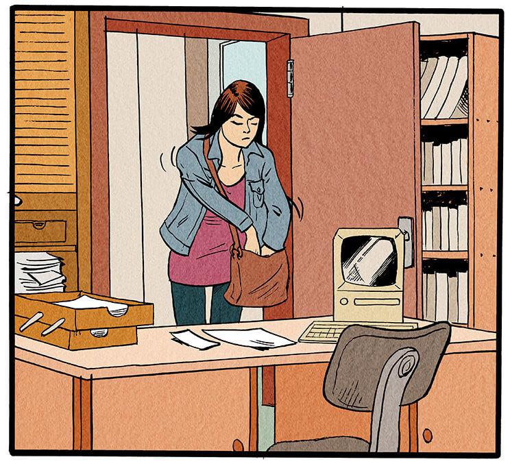 Anna Wegener geht gerade durch die Tür zu ihrem Büro, als das Handy in ihrer Tasche klingelt. Sie wühlt in ihrer Tasche nach dem Telefon.  'Tüdelü! Tüdelü!'