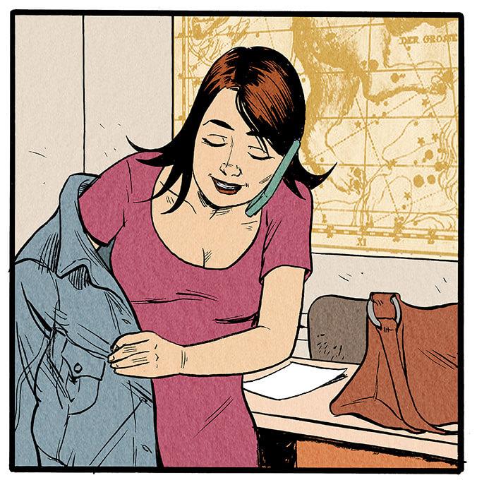 Anna Wegener klemmt sich das Handy mit der Schulter ans Ohr, während sie ihre Jacke auszieht.  Anna Wegener: 'Mama? Hallo Mama! Ich komm grad rein, Moment.'