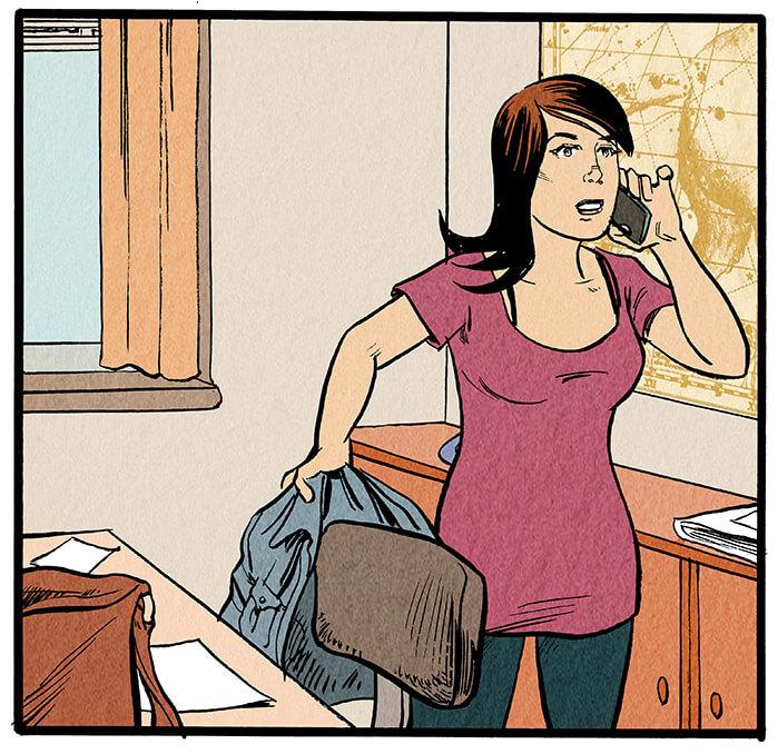 Anna Wegener hängt mit der einen Hand ihre Jacke über den Schreibtischstuhl, mit der anderen hält sie sich das Handy ans Ohr.  Anna Wegener: 'Ich bin gerade über meine erste Story gestolpert.'