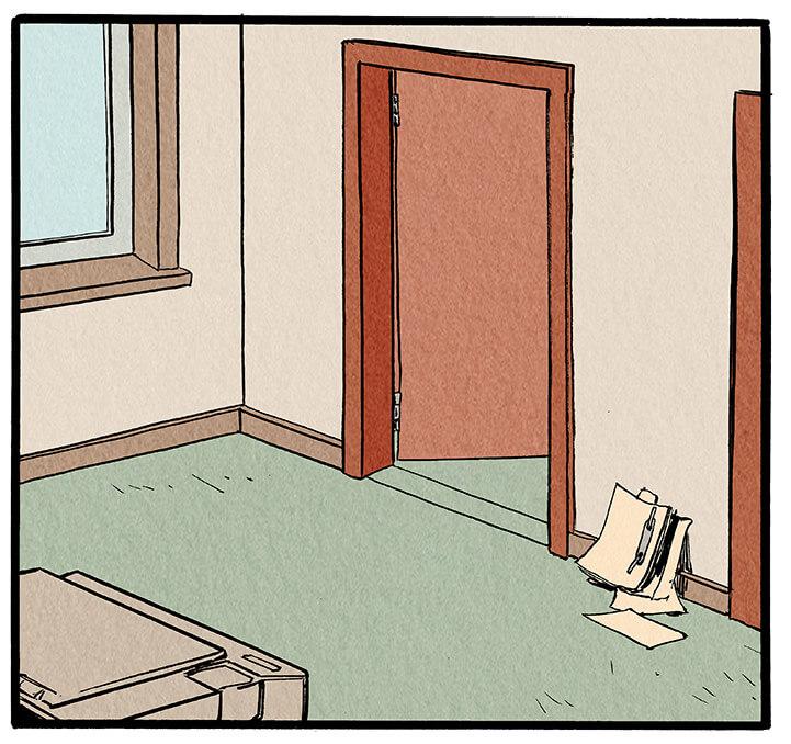 Man sieht den unordentlichen Flur vor Anna Wegeners Büro. Die Bürotür steht offen, sodass man das Gespräch auch auf dem Flur hören kann.  Anna Wegener: 'Direkt hier um die Ecke, eine alte Dame, die möglicherweise von ihrem Mann misshandelt wurde. Genau! Und jetzt ist sie tot.'