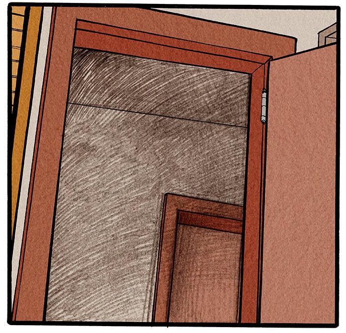 Anna Wegener ist aufgestanden und nähert sich ihrer offenen Bürotür. Die Musik wird lauter.