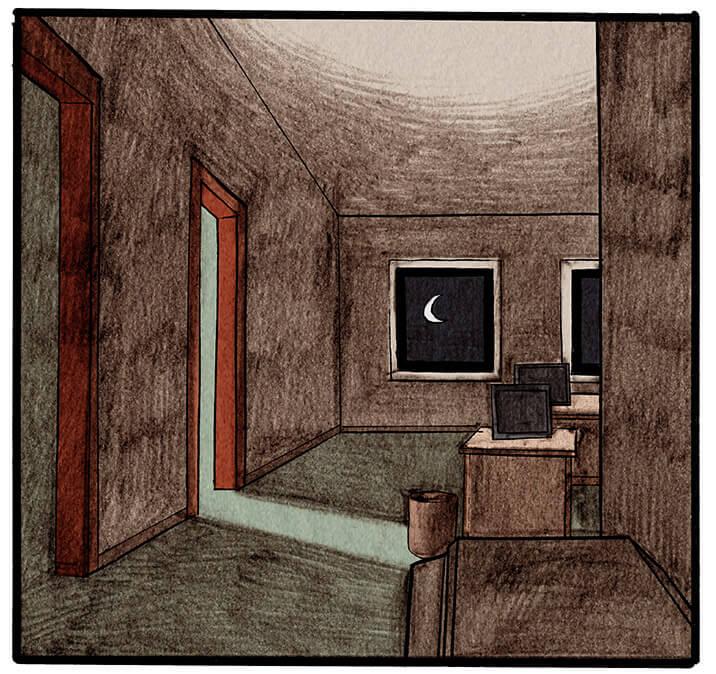 Sie schaut aus ihrem Büro auf den dunklen Flur. Nun scheint auch aus einem weiteren Zimmer Licht. Aus diesem Zimmer ertönt die Musik.