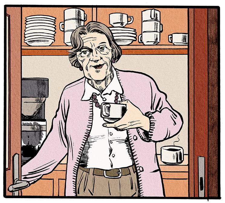 In der Tür zur Küche steht eine ältere Frau mit einer Kaffeetasse in der Hand.  Ältere Frau: 'Hallo Anna! Ich hab uns einen Kaffee gemacht!'