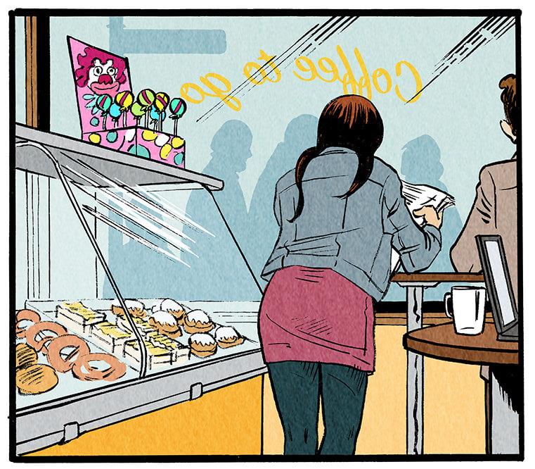 Anna Wegener steht morgens vor der Arbeit in einer Bäckerei an einem Stehtisch und liest das Grevenacker Echo.