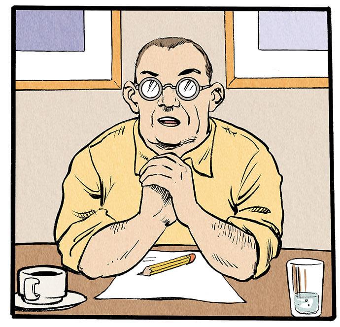 Chefredakteur Meyer-Velden sitzt am Kopfende des Tisches und eröffnet die Besprechungsrunde.  Meyer-Velden: 'Sind alle Ressorts versammelt? Gut, gut!'