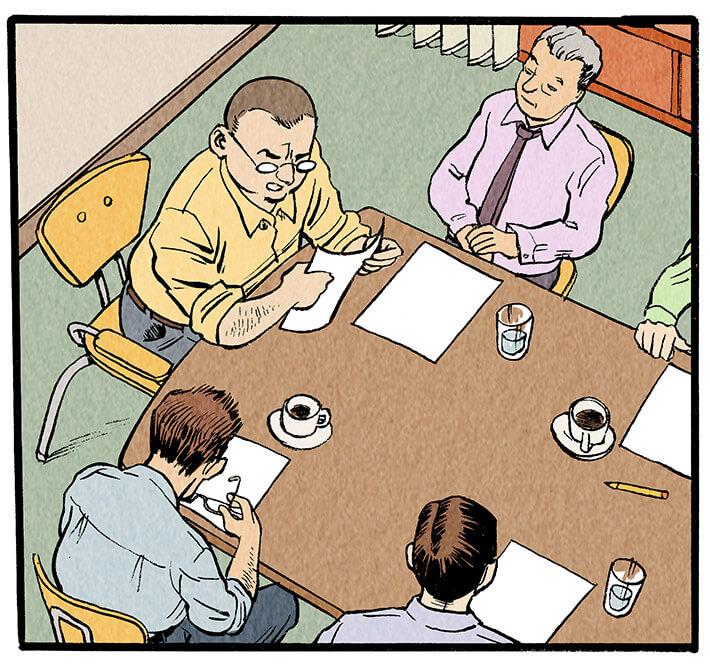 Der Chefredakteur richtet das Wort an einen Redakteur neben ihm.  Meyer-Velden: 'Die Blattkritik! Bitte, Herr Kollege!'