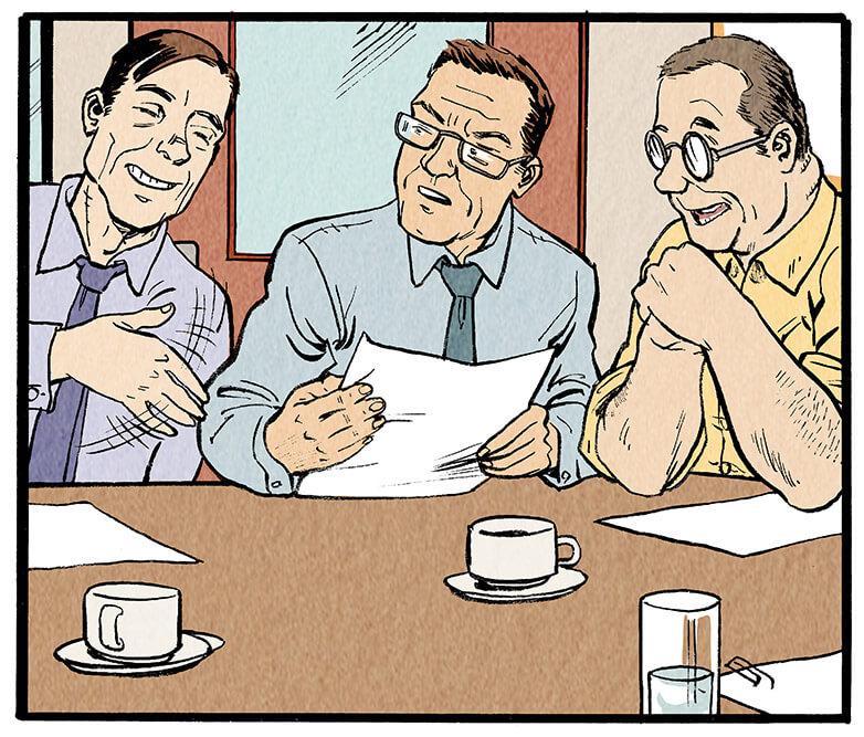 Ein anderer Redakteur unterbricht ihn lachend.  Redakteur 2: 'Ei, ei, ei!'  Meyer-Velden: 'Haha, ist doch ein Kompliment! In neun Jahren sieht die noch genauso aus!'