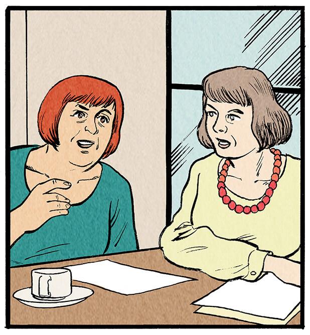 Zwei Redakteurinnen mischen sich in die Diskussion ein.  Redakteurin 1: 'Hm, ich glaube die Fans der Queen verstehen da keinen Spaß.'  Redakteurin 2: 'Sind schon jede Menge Beschwerden im Posteingang!'